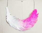 "Feather Necklace, Neon Hot Pink Feather Jewelry, Dip Dye Statement Necklace, ""Limited Edition"""