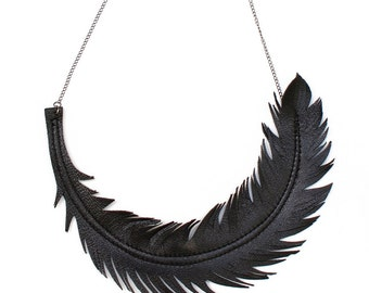 """Black Feather Necklace, Leather Feather Jewelry, """"RAVEN"""" Statement Bib Necklace by Loveatfirstblush, Gifts for her, Handmade in Canada,"""