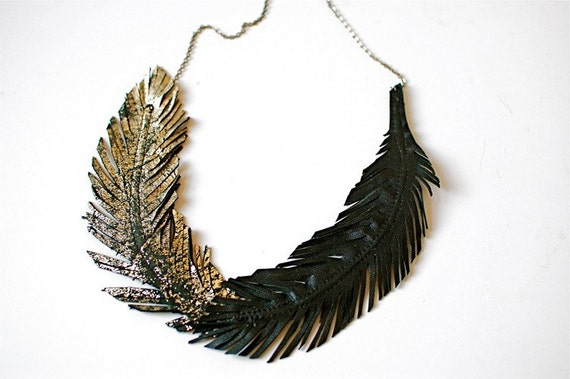 Black And Gold Feather Necklace Feather Necklace Black
