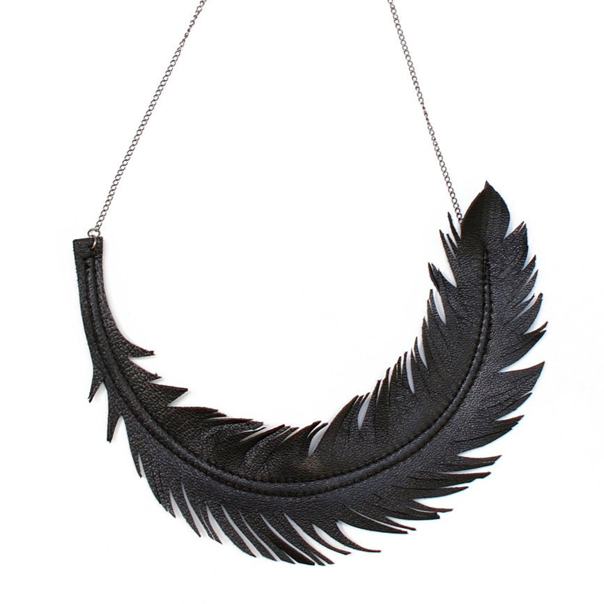 Black And Gold Feather Necklace Black Feather Necklace