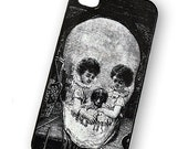 iPhone 4 Case Optical Illusion Vintage Skull Children Playing Gothic / Hard Case For iPhone 4 and iPhone 4S Pick Your Trim Color