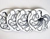 Drink Coaster Set Vintage Nautical Octopus  / Cork Backed Hard Coaster Set of 4