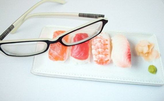 Sushi Plate Eyeglass Case - Photo Realastic Carrying Small Case