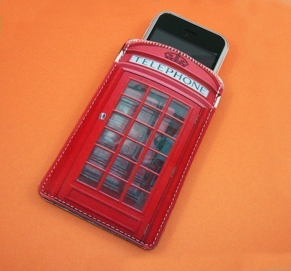British Red Phone Booth Gadget Case - Fits iPhone Cell Phones iTouch and More