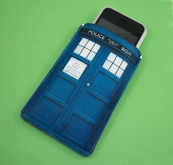 Sci-Fi Blue Police Phone Booth Gadget Case - Fits iPhone itouch Cell Phones and more