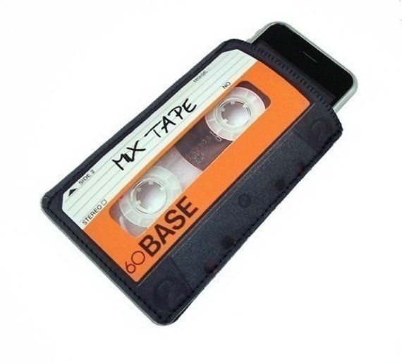 iPhone Retro 80's Mix Tape Black Orange - Smartphone, iTouch Mp3 Case