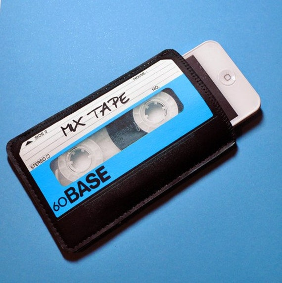 iPhone 80's Retro Mix Tape Black Blue - Smart Phone, Mp3 Player Case- Fabric and Felt version
