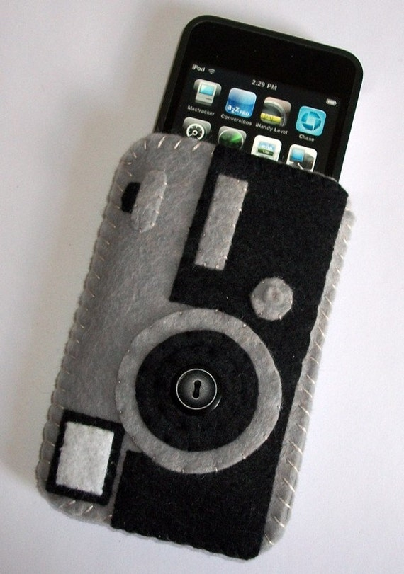 Retro Camera Ipod Iphone Cell Phone felt Case