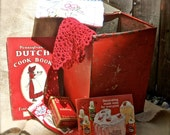 Tattered Bundle No 011 Old Tin Red Box FIlled with Vintage Goodies