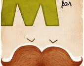M is for Moustache - 11x17