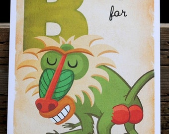 B is for Baboon - 4x6