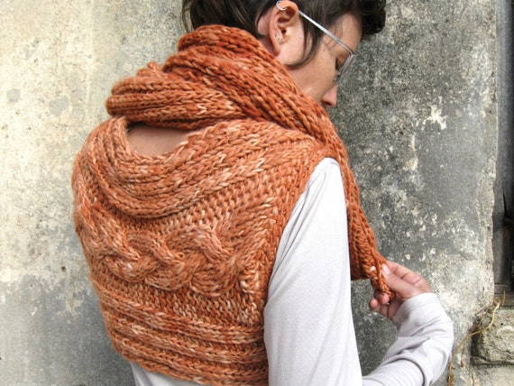 Reserved for Becky - Sale 30% Off - Hand Knitted Chunky Cable Scarf Handspun Viscose Eco Friendly Natural Dyed OOAK