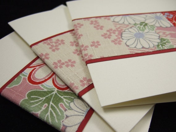 Set of 3 Blank (Japanese) Fabric Notecards
