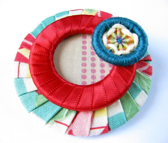 Textile Jewelry - Fabric Brooch - Cherry