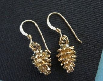Pine Cone Dangle Earrings, 14K GOLD FILL Wires, Gold Pine Cone, Pine Cone Weddings, Pinecone, Pine Cone Jewelry