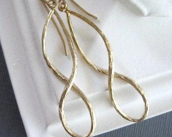 Infinity Earrings, Long Earrings, Branch Earrings, Gold Earrings, Bark Earrings, 14K Gold Fill Wires, Everyday Earrings