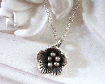 Poppy Necklace, Flower Pendant, Sterling Silver Necklace