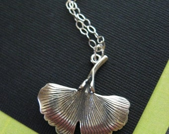 Ginkgo Necklace, Leaf Necklace, Natural Jewelry, Large and Gorgeous in Sterling Silver