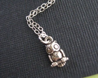 Tiny Owl Charm Necklace, Owl Necklace, Owl Jewelry, STERLING SILVER Owl, Owl Pendant, Woodland, Child Necklace