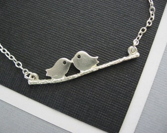 Petite Love Birds Necklace in STERLING SILVER