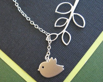 Baby Sparrow and Branch Necklace, STERLING CHAIN, Silver Necklace, Gift for, Silver Jewelry