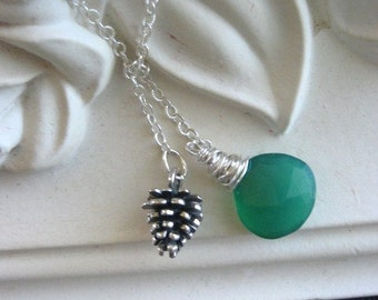 EVERGREEN Pinecone and Green Chalcedony Lariat Necklace in STERLING Silver