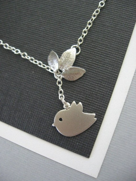 Baby Sparrow and Leaf Necklace STERLING CHAIN