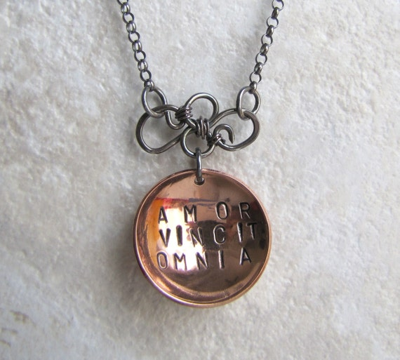 Amor Vincit Omnia Necklace Copper and Sterling Silver. Love Conquers All Necklace Olde Latin