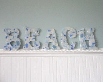 Beach Decor 5PC Sea Glass Letters - Nautical Decor Beach Glass Decorative Wall Letters, Any Color, 5PC - #SGBEACHL