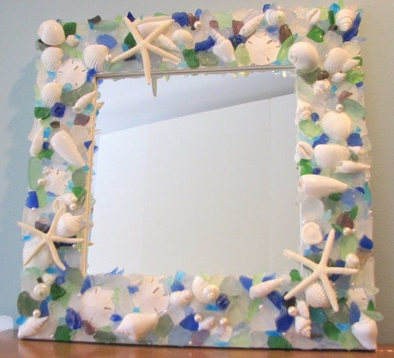 Seashell Mirror Beach Decor w Aqua, Blue, Green Sea Glass and White Starfish
