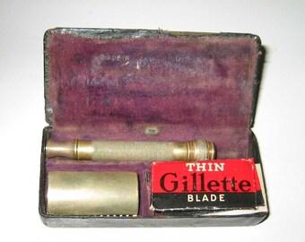 Antique Brass Gillette Safety Razor with Case
