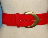 Vintage Red Knit Fabric Belt