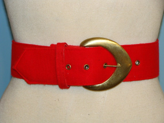 Vintage Red Knit Fabric Belt