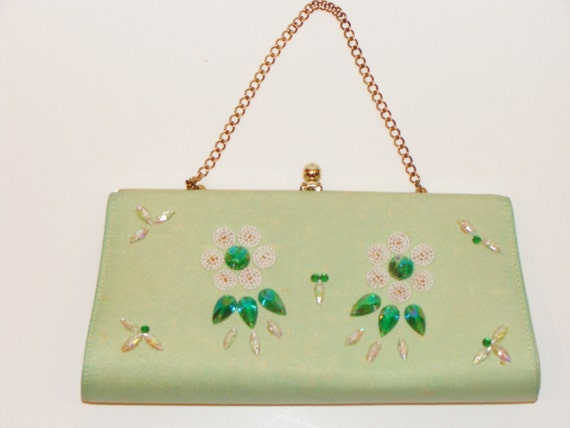 Vintage Green Beaded clutch