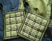 Green and Black plaid leather and lace trimmed Hot Pads