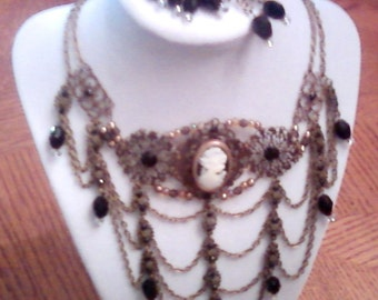 Midnight Elegance necklace and earrings set