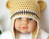 Cotton Newborn Baby Hat, Child Beanie, Earflap, Ears, Yellow, Chocolate Stripes, Baby Gifts, Newborn gifts, Photo Prop, JE292FEKID
