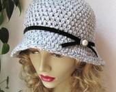 Crochet Womens Hat Grey Cloche, Velvet Trim Ribbon, Pearl, Grey Fleck, Black, Dress, Weddings, Birthday Gifts, Photo Prop Handmade JE107CALL