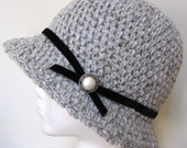 Womens Hat Gray Cloche, Velvet Trim, Pearl Button, Holiday Hat, Black Ribbon, Tea Party, Birthday Gifts, Photo Prop, Handmade JE107CALL