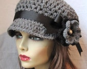 Womens Hat Newsboy Gray Crochet Black Pearl Flower Ribbon Woman gift Weddings Birthday Gifts, Gift for her JE270NRFALL