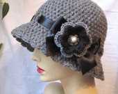 Womens Hat Charcoal Grey Gray Cloche, Black Ribbon, Bow, Removable Flower Pin. Winter, Brim, Birthday Gifts, Brides, Handmade, JE270CRFALL