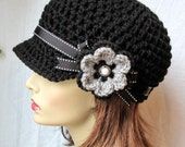 Crochet Newsboy, Woman Hat, Black, Ribbon, Flower, Gray, Pearl Button, Gifts for Her, Birthday Gifts JE148NFRALL6