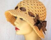 Cotton Women Cloche, Camel, Tan, Brown Ribbon, Sun Hat, Beach, Weddings, Tea Party, Birthday Gifts, JE217CS3