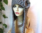 Charcoal Womens Hat, Hooded Beanie, Built in Scarf, Flower, Chunky, Cozy Warm. Teens, Chemo, Birthday Gifts, Gifts for Her, JE407BFF2