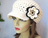 Womens Hat, Adult Chunky Newsboy, Off White, Natural, Black, Winter White, Gifts for Her, Birthday Gifts, JE144NFALL