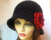 Black Women Cloche, Red Flower, Winter Hat, Teens, Dressy, Wedding Gifts, Bridal wear, Photo Props, Handmade, JE376CRALL2