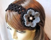 Flower Black Crochet Headband Fascinator, Gray, Pearl Button, Gifts for her, Bridesmaids, Photo Prop, Birthday Gifts, Handmade, HBJE32C