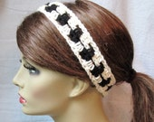 SALE Off White and Black Crochet Headband, Spring Summer Headband, Gifts for her, Photo Prop, Birthday Gifts, Handmade - HBJE118