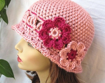 Womens Hat Rose Blush Cloche, Flapper Hat, Berry, Crocheted Flower, Bridal Gifts, Birthday Gifts, SPECIFY SIZE - JE296CFALL2