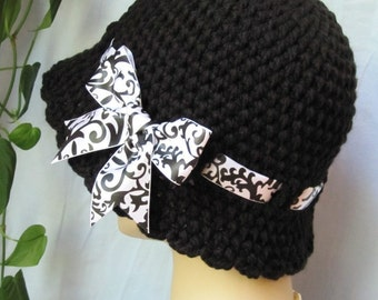 Crochet Cloche Womens Hat, Black and White, Ribbon, Fall Winter Hat, Birthday Gifts, GIfts Under 50, Photo Props, Handmade, JE276CRALL